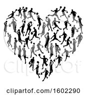 Clipart Of A Heart Made Of Black Silhouetted Basketball Players Royalty Free Vector Illustration