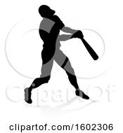 Poster, Art Print Of Black Silhouetted Baseball Player Batting With A Reflection On A White Background