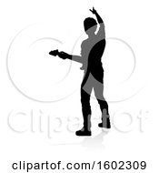 Clipart Of A Silhouetted Male Guitarist With A Reflection Or Shadow On A White Background Royalty Free Vector Illustration by AtStockIllustration