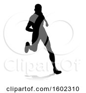 Clipart Of A Silhouetted Male Runner With A Reflection Or Shadow On A White Background Royalty Free Vector Illustration