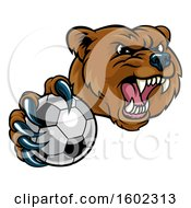 Mad Grizzly Bear Mascot Holding Out A Soccer Ball In A Clawed Paw