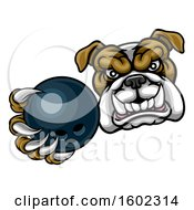 Tough Bulldog Monster Mascot Holding Out A Bowling Ball In One Clawed Paw