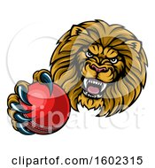 Tough Lion Monster Mascot Holding Out A Cricket Ball In One Clawed Paw