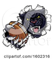 Clipart Of A Black Panther Mascot Breaking Through A Wall With An American Football Royalty Free Vector Illustration