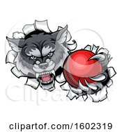 Tough Wolf Monster Mascot Holding Out A Cricket Ball In One Clawed Paw And Breaking Through A Wall