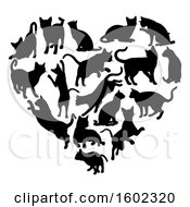 Clipart Of A Heart Made Of Black Silhouetted Cats Royalty Free Vector Illustration