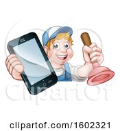 Happy White Male Plumber Holding A Plunger And Cell Phone Over A Sign
