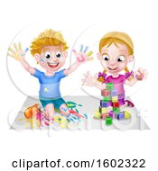 Cartoon Happy White Boy Kneeling And Hand Painting Artwork And Girl Playing With Toy Blocks