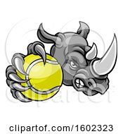 Clipart Of A Tough Rhino Monster Mascot Holding Out A Tennis Ball In One Clawed Paw Royalty Free Vector Illustration