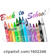 Clipart Of A 3d Row Of Colorful Crayons With Back To School Text Royalty Free Vector Illustration