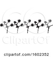 Clipart Of A Line Of Kicking Cheerleaders In Black And White Royalty Free Vector Illustration