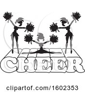 Clipart Of Silhouetted Cheerleaders In Black And White Jumping And Doing The Splits On Cheer Text Royalty Free Vector Illustration