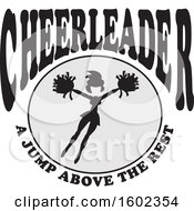 Clipart Of A Jumping Cheerleader With A Jump Above The Rest Text Royalty Free Vector Illustration