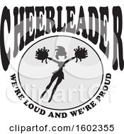 Clipart Of A Jumping Cheerleader With Were Loud And Were Proud Text Royalty Free Vector Illustration