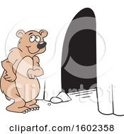 Clipart Of A Cartoon Happy Bear At His Cave Entrance Royalty Free Vector Illustration by Johnny Sajem