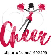 Clipart Of A Jumping Cheerleader Above Cardinal Red Cheer Text Royalty Free Vector Illustration