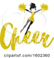 Clipart Of A Jumping Cheerleader Above Yellow Cheer Text Royalty Free Vector Illustration
