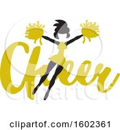 Clipart Of A Jumping Cheerleader Over Yellow Cheer Text Royalty Free Vector Illustration