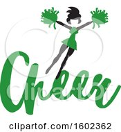 Clipart Of A Jumping Cheerleader Above Green Cheer Text Royalty Free Vector Illustration