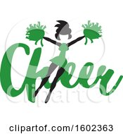 Clipart Of A Jumping Cheerleader Over Green Cheer Text Royalty Free Vector Illustration