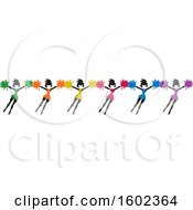 Row Of Colorful Jumping Cheerleaders