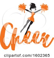 Clipart Of A Jumping Cheerleader Above Orange Cheer Text Royalty Free Vector Illustration