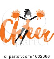 Clipart Of A Jumping Cheerleader Over Orange Cheer Text Royalty Free Vector Illustration