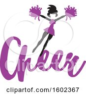 Clipart Of A Jumping Cheerleader Above Purple Cheer Text Royalty Free Vector Illustration