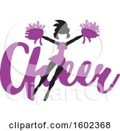 Clipart Of A Jumping Cheerleader Over Purple Cheer Text Royalty Free Vector Illustration