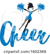 Clipart Of A Jumping Cheerleader Above Blue Cheer Text Royalty Free Vector Illustration