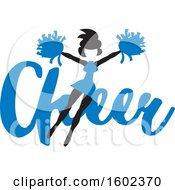 Clipart Of A Jumping Cheerleader Over Blue Cheer Text Royalty Free Vector Illustration