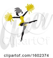 Clipart Of A Silhouetted Jumping Cheerleader In Gold Over The Word Cheer Royalty Free Vector Illustration