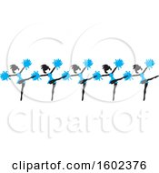 Clipart Of A Line Of Kicking Cheerleaders In Blue Royalty Free Vector Illustration