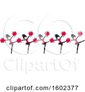 Clipart Of A Line Of Kicking Cheerleaders In Cardinal Red Royalty Free Vector Illustration