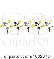Clipart Of A Line Of Kicking Cheerleaders In Gold Royalty Free Vector Illustration