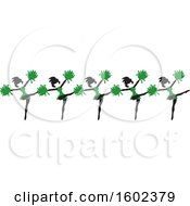 Clipart Of A Line Of Kicking Cheerleaders In Green Royalty Free Vector Illustration