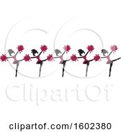 Clipart Of A Line Of Kicking Cheerleaders In Maroon Royalty Free Vector Illustration