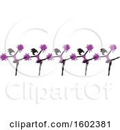 Clipart Of A Line Of Kicking Cheerleaders In Purple Royalty Free Vector Illustration