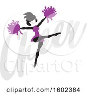 Clipart Of A Silhouetted Jumping Cheerleader In Purple Over The Word Cheer Royalty Free Vector Illustration