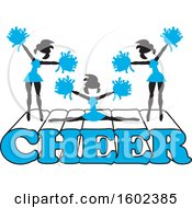 Clipart Of Silhouetted Cheerleaders In Blue Jumping And Doing The Splits On Cheer Text Royalty Free Vector Illustration
