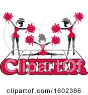 Clipart Of Silhouetted Cheerleaders In Cardinal Red Jumping And Doing The Splits On Cheer Text Royalty Free Vector Illustration