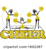 Clipart Of Silhouetted Cheerleaders In Gold Jumping And Doing The Splits On Cheer Text Royalty Free Vector Illustration