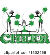 Clipart Of Silhouetted Cheerleaders In Green Jumping And Doing The Splits On Cheer Text Royalty Free Vector Illustration