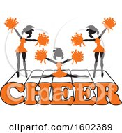 Clipart Of Silhouetted Cheerleaders In Orange Jumping And Doing The Splits On Cheer Text Royalty Free Vector Illustration