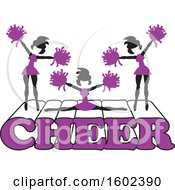 Clipart Of Silhouetted Cheerleaders In Purple Jumping And Doing The Splits On Cheer Text Royalty Free Vector Illustration