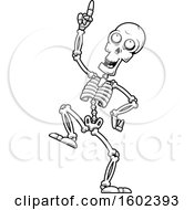 Cartoon Black And White Dancing Skeleton