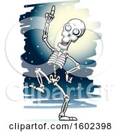 Clipart Of A Cartoon Dancing Skeleton Against A Full Moon Royalty Free Vector Illustration