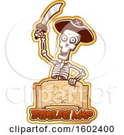 Clipart Of A Cartoon Pirate Skeleton Holding A Sword Over A Treasure Map Royalty Free Vector Illustration