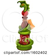 Clipart Of A Magical Wizard Or Witch Potion Bottle With A Serpent Royalty Free Vector Illustration