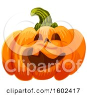 Clipart Of A Halloween Jackolantern Pumpkin Royalty Free Vector Illustration